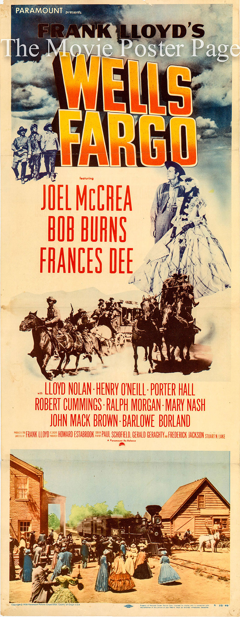Pictured is a US insert promotional poster for a 1950 rerelease of the 1937 Frank Lloyd film Wells Fargo starring Joel McCrea.