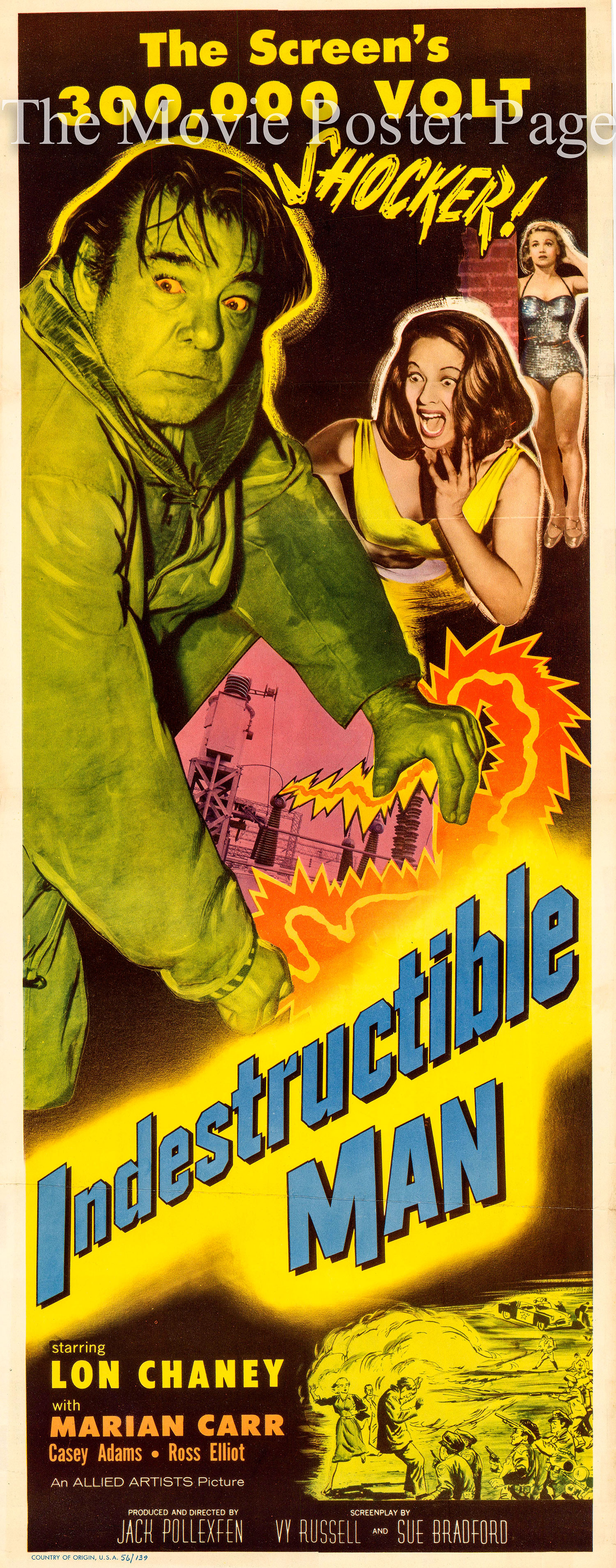 Pictured is a US one-sheet promotional poster for the 1956 Jack Pollexferi film Indestructible Man starring Lon Chaney Jr.
