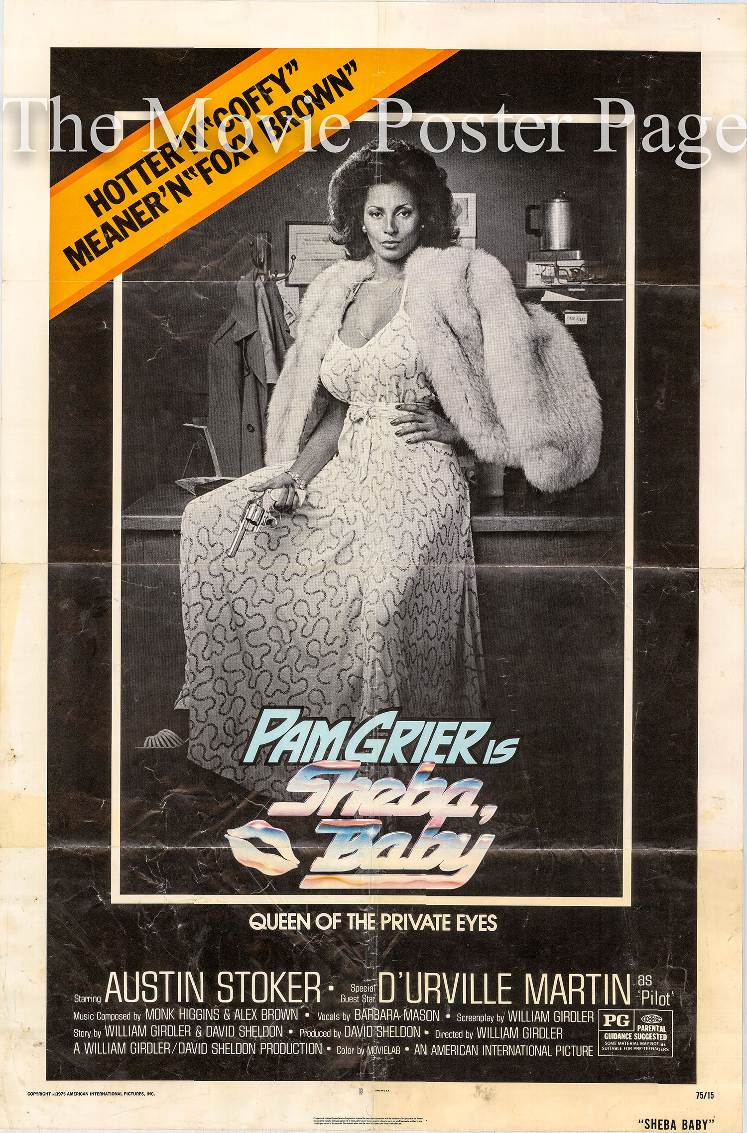 Pictured is a US one-sheet promotional poster for the 1975 William Girdler film Sheba Baby starring Pam Grier.