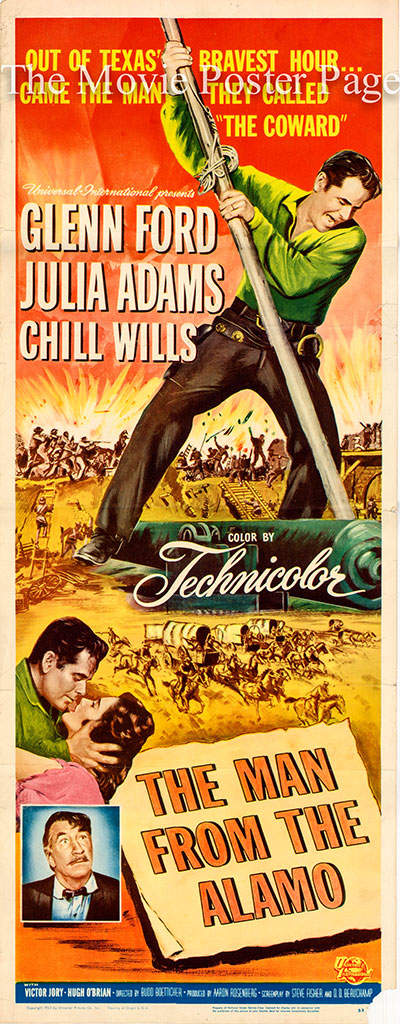 Pictured is a US insert promotional poster for the 1953 Budd Boetticher film Man from the Alamo starring Glenn Ford.
