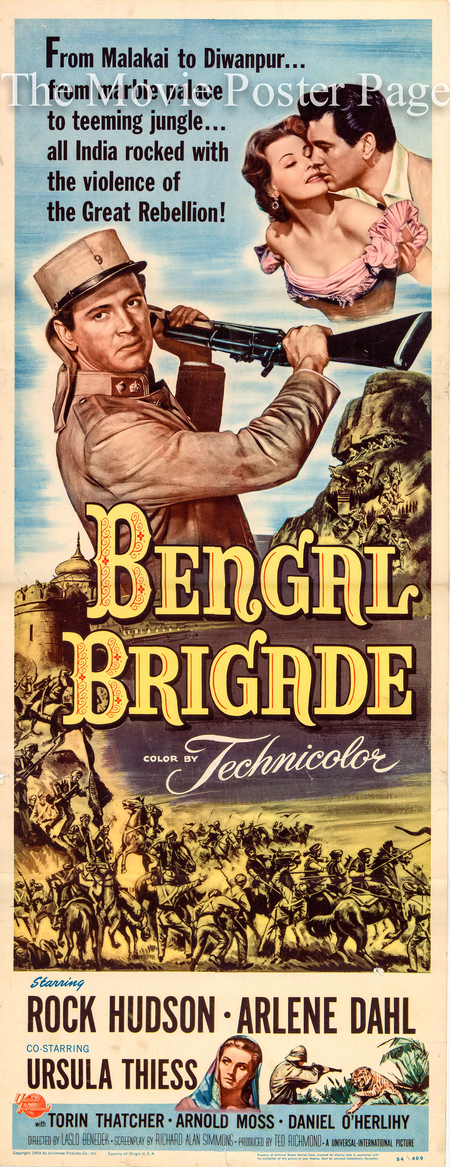Pictured is a US insert promotional poster for the 1954 Laslo Benedek film Bengal Brigade starring Rock Hudson and Arlene Dahl.