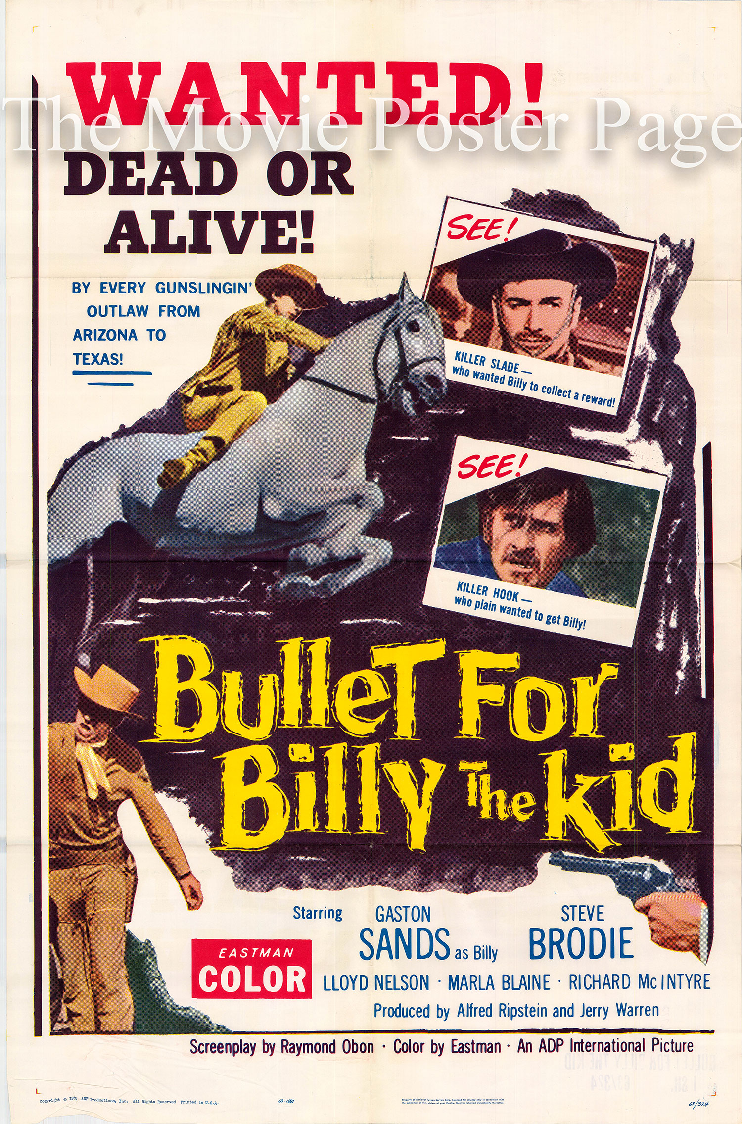 Pictured is a US one-sheet poster for the 1963 Rafael Baledon film A Bullet for Billy the Kid starring Gaston Sands.