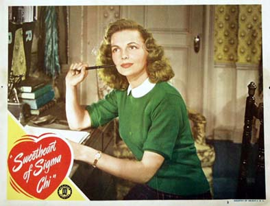 Pictured is a US lobby card for the 1946 Jack Bernhard film Sweetheart of Sigma Chi starring Elyse Knox.