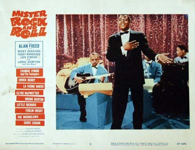 Pictured is a US lobby card for the 1957 Charles S. Dubin film Mister Rock and Roll starring Alan Freed with Brook Benton pictured on the card.
