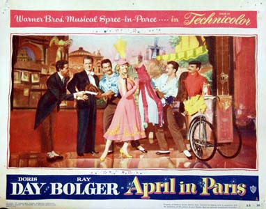 Pictured is a US title card for the 1953 David Butler film April in Paris starring Doris Day and Ray Bolger.