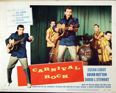 Pictured is a US lobby card for the 1957 Roger Corman film Carnival Rock starring Susan Cabot, Brian Hutton and David J. Stewart.