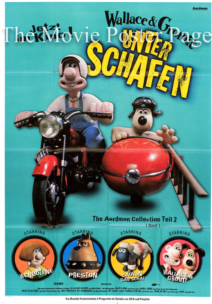 Pictured is a German two-sheet poster for the 1995 Nick Park film A Close Shave starring Peter Sallis as the voice of Wallace.