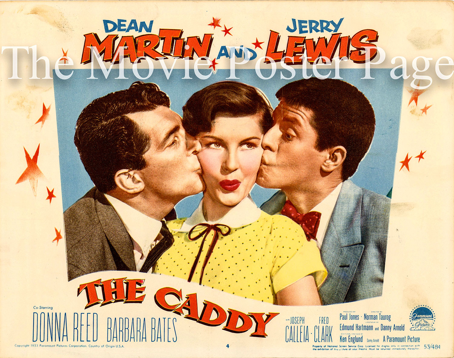 Pictured is a US lobby card for the 1953 Norman Taurog film The Caddy starring Dean Martin and Jerry Lewis.
