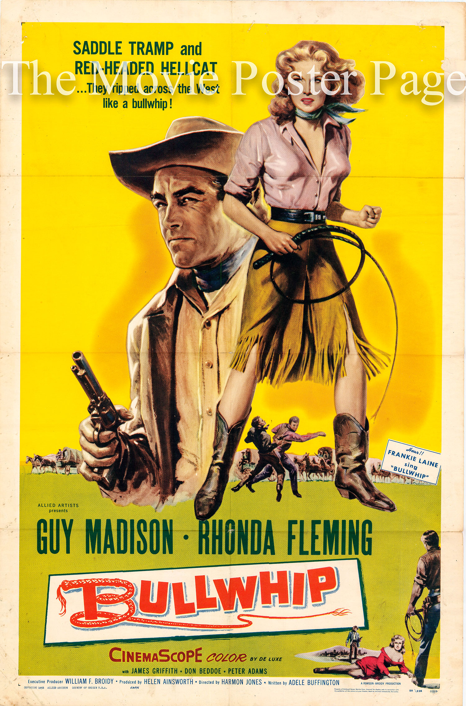 Pictured is a US one-sheet promotional poster for the 1958 Harmon Jones film Bullwhip starring Rhonda Fleming.