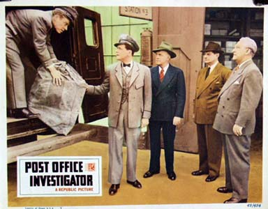 Pictured is a US lobby card for the 1949 George Blair film Post Office Investigator starring Audrey Long.