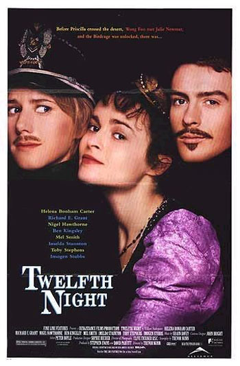 Pictured is a US promotional poster for the 1996 Trevor Nunn film The 12th Night starring Helena Bonham Carter.