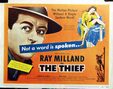 Pictured is a US title lobby card for the 1952 Russell Rouse film The Thief starring Ray Milland.