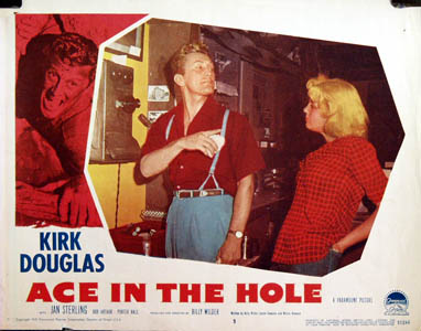 Pictured is a US lobby card for the 1951 Billy Wilder film Ace in the Hole starring Kirk Douglas.