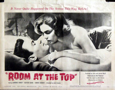 Pictured is a US lobby card for the 1959 Jack Clayton film Room at the Top starring Simone Signoret.