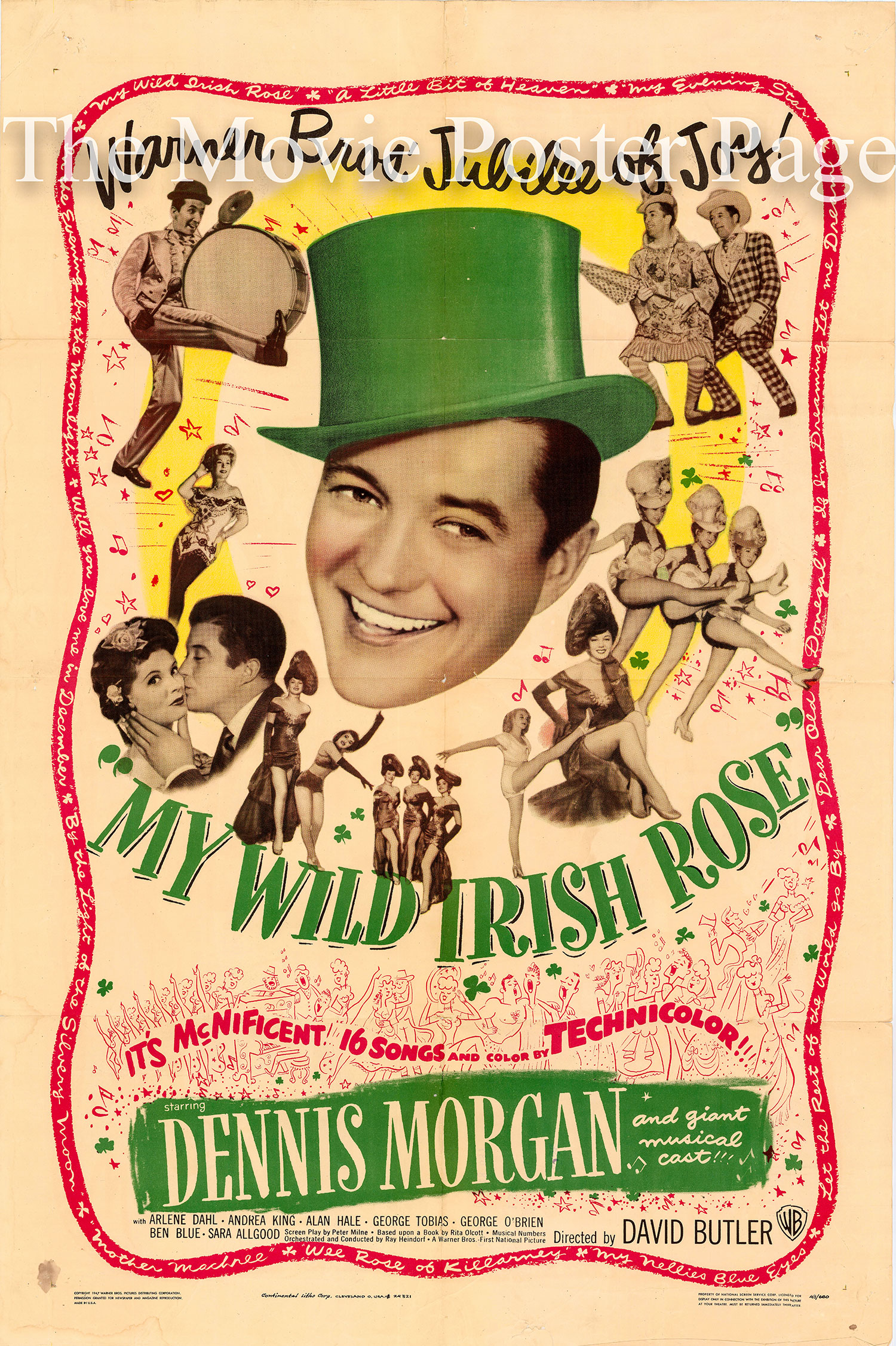Pictured is a US one-sheet promotional poster for the 1948 David Butler film My Wild Irish Rose starring Dennis Morgan and Arlene Dahl.