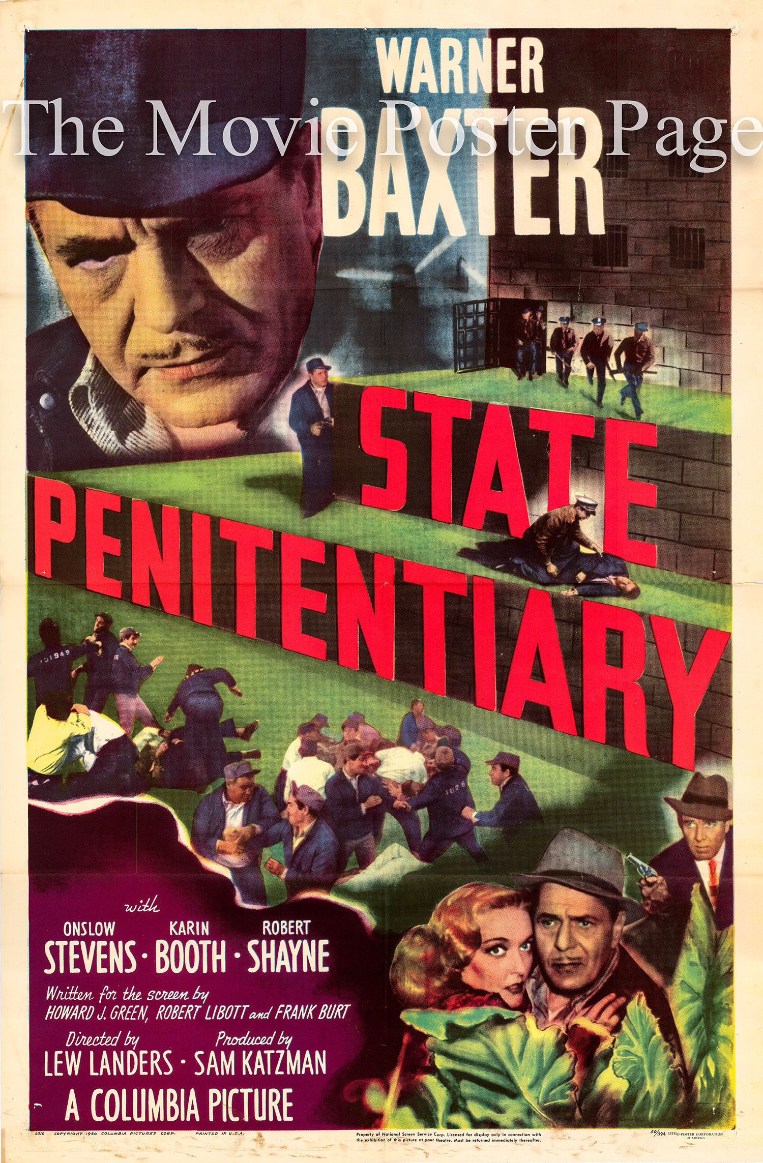 Pictured is a US one-sheet promotional poster for the 1950 Lew Landers film State Penitentiary starring Warner Baxter.