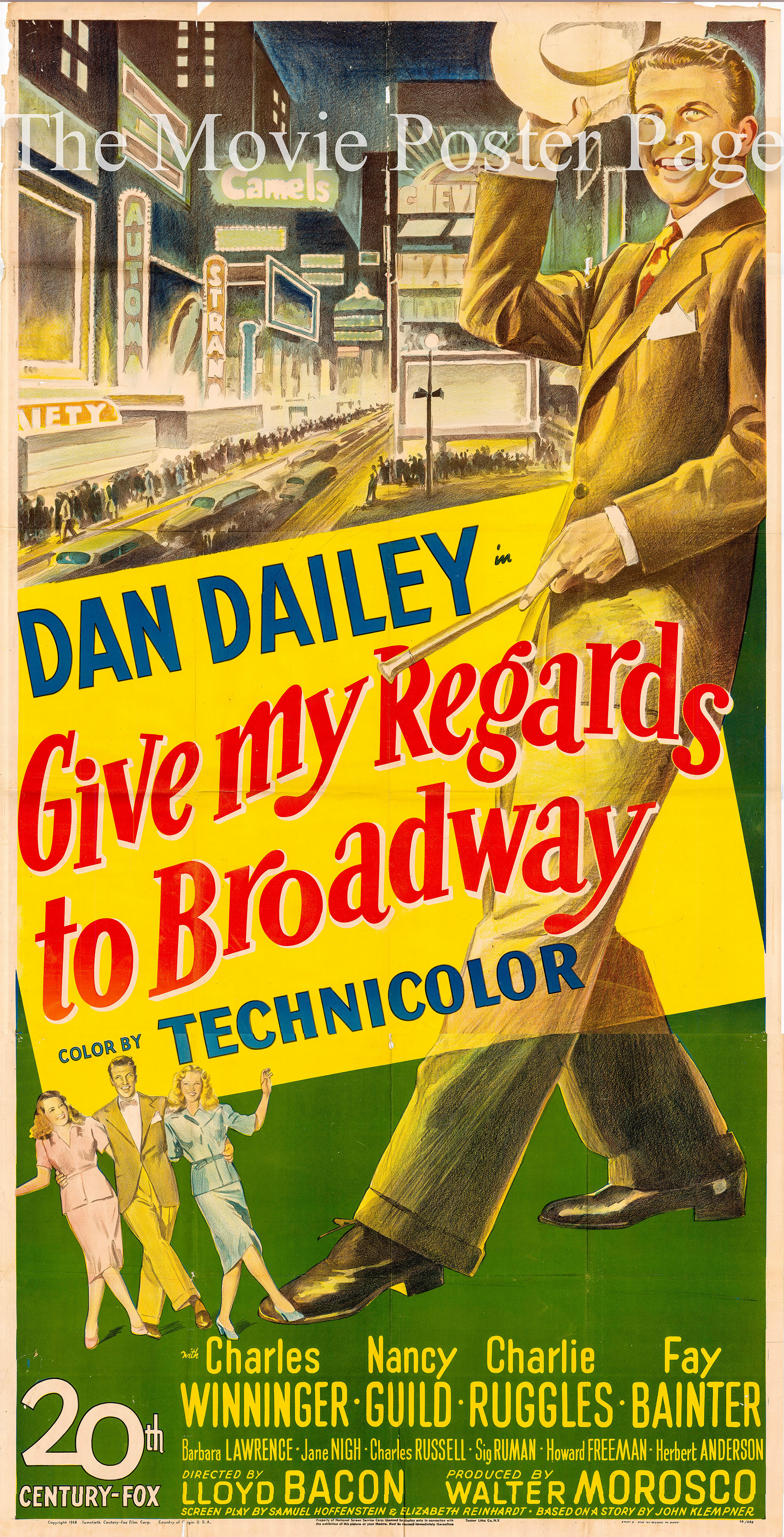 Pictured is a US three-sheet promotional poster for the 1948 Lloyd Bacon film Give My Regards to Broadway starring Dan Dailey.
