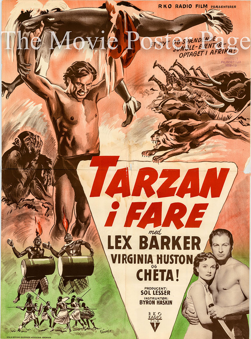 Pictured is a Danish one-sheet poster for the 1951 Byron Baskin film Tarzan's Peril starring Lex Barker as Tarzan.