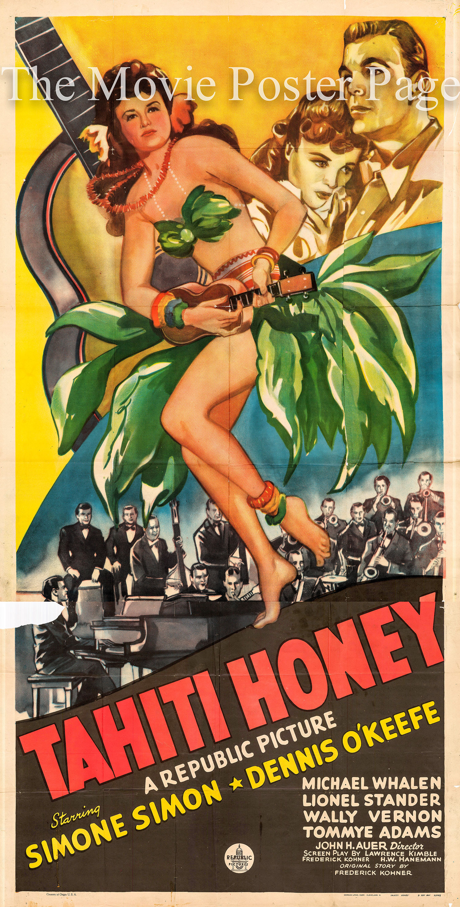 Pictured is a US three-sheet promotional poster for the 1943 John H. Auer film Tahiti Honey starring Simone Simon.
