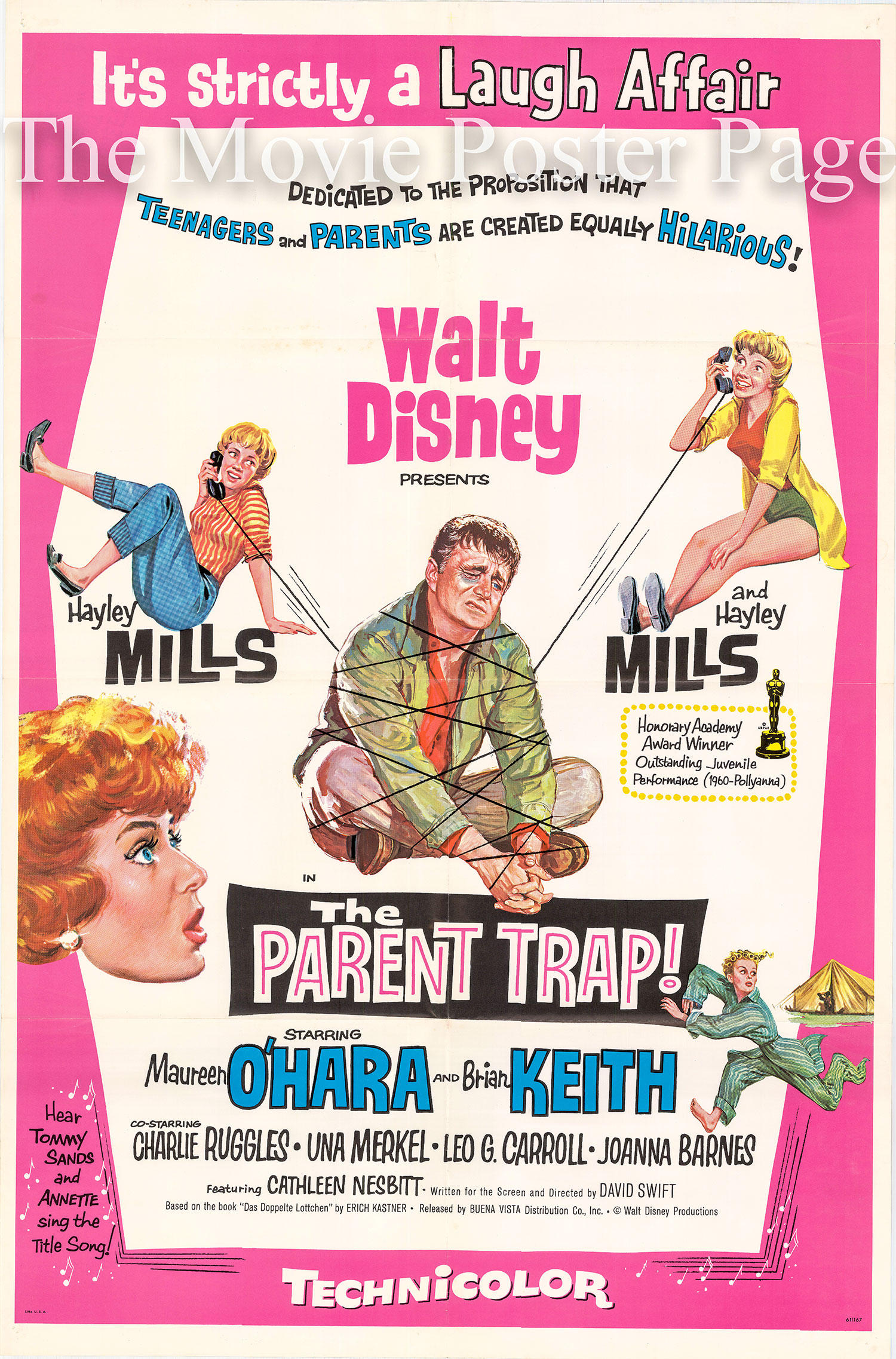 Pictured is a US one-sheet promotional poster for the 1961 David Swift film The Parent Trap starring Hayley Mills.