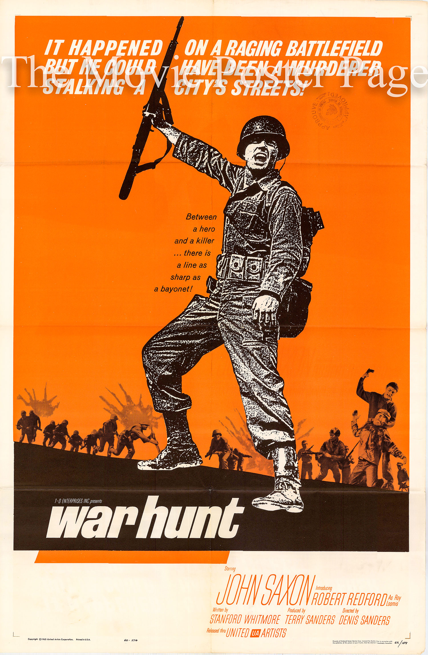 Pictured is a US one-sheet promotional poster for the 1962 Denis Sanders film War Hunt starring John Saxon and Sydney Pollack, with a debut performance by Robert Redford.