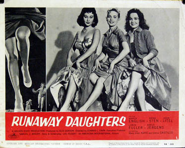 Pictured is a US lobby card for the 1956 Edward L. Cahn film Runaway Daughters starring Maria English.