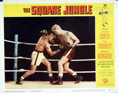 Pictured is a US lobby card for the 1955 Jerry Hopper film The Square Jungle starring Tony Curtis.