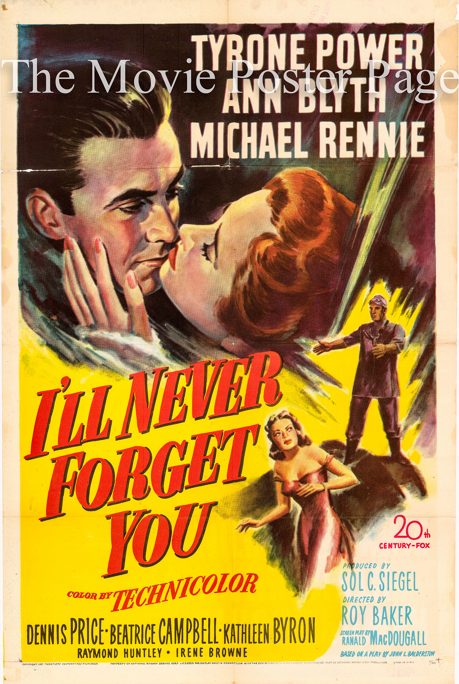 Pictured is a US one-sheet promotional poster for the 1951 Roy Ward Baker film I'll Never Forget You starring Tyrone Power and Ann Blyth.