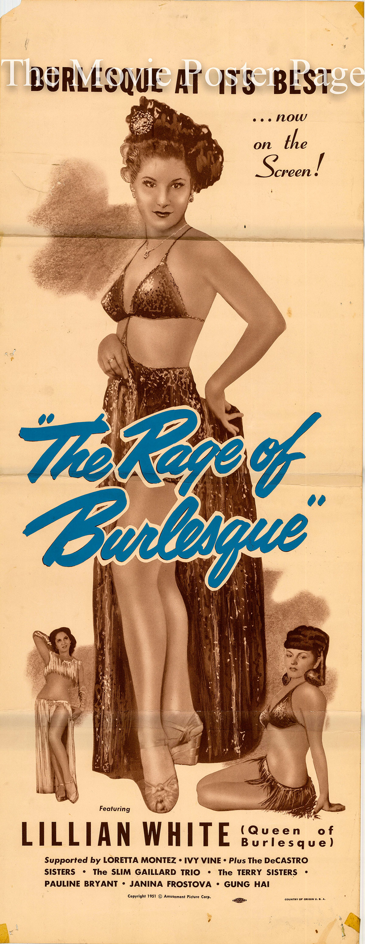Pictured is a US insert promotional poster for the 1951 Amusement Picture Corporation film The Rage of Burlesque starring Lillian White.