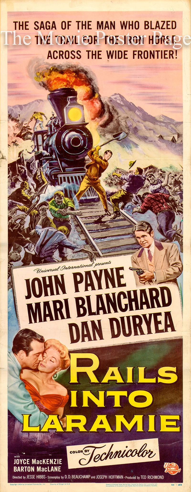 Pictured is a US insert poster for the 1954 Jesse Hibbs film Rails into Laramie starring John Payne.