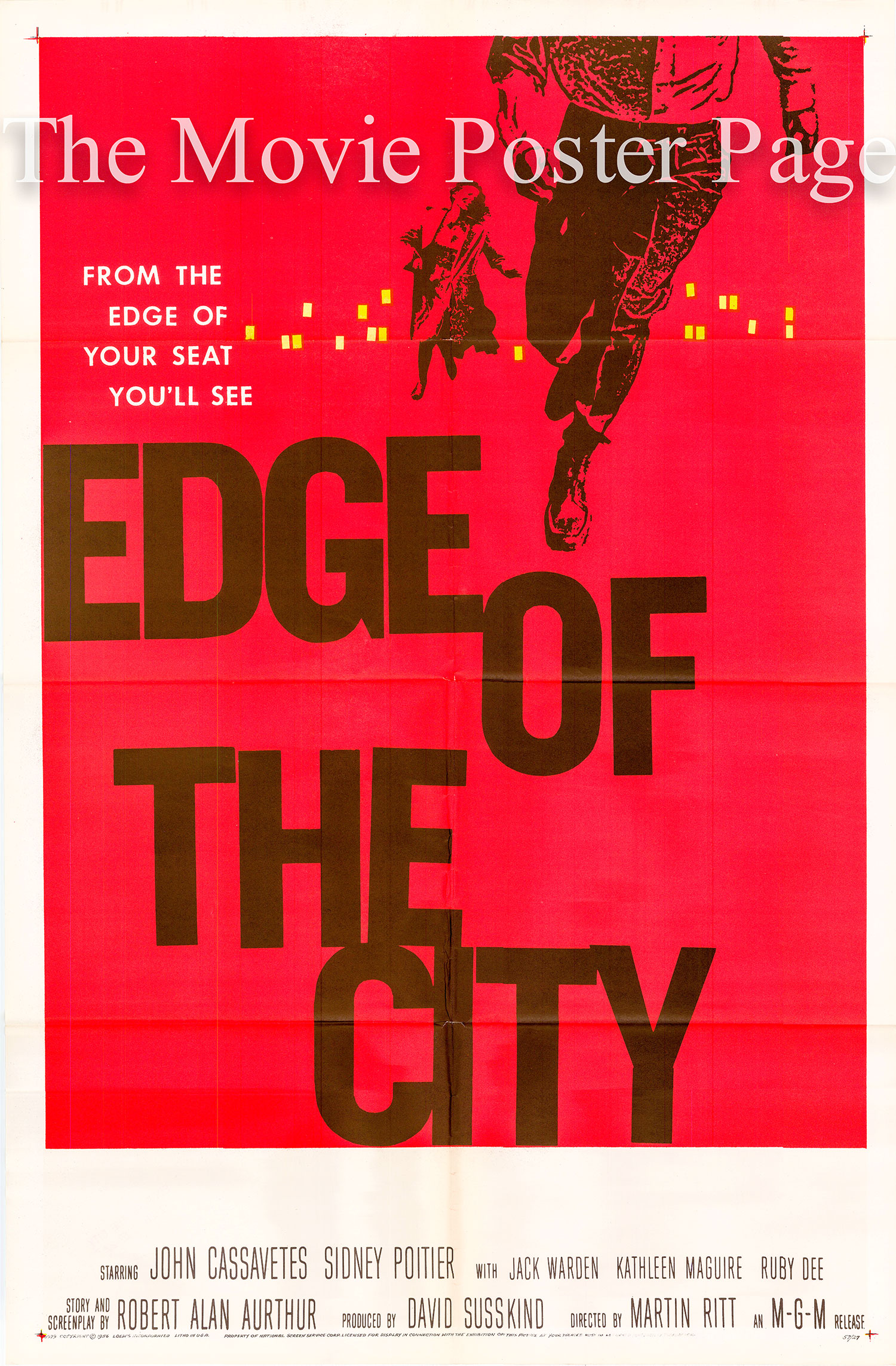 Pictured is a US one-sheet promotional poster for the 1957 Martin Ritt film Edge of the City starring Sidney Poitier and John Cassavetes, with art by Saul Bass.