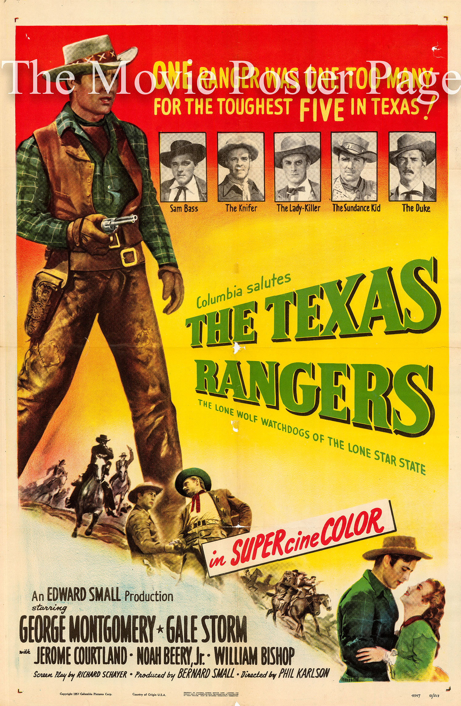 Pictured is a US one-sheet promotional poster for the 1951 Phil Karlson film The Texas Rangers starring George Montgomery.