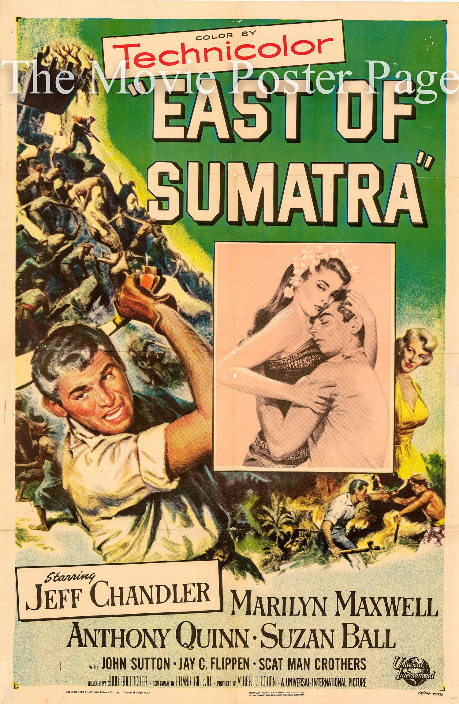 Pictured is a US one-sheet promotional poster for the 1953 Budd Boetticher film East of Sumatra starring Jeff Chandler, based on a story by Louis L'Amour.