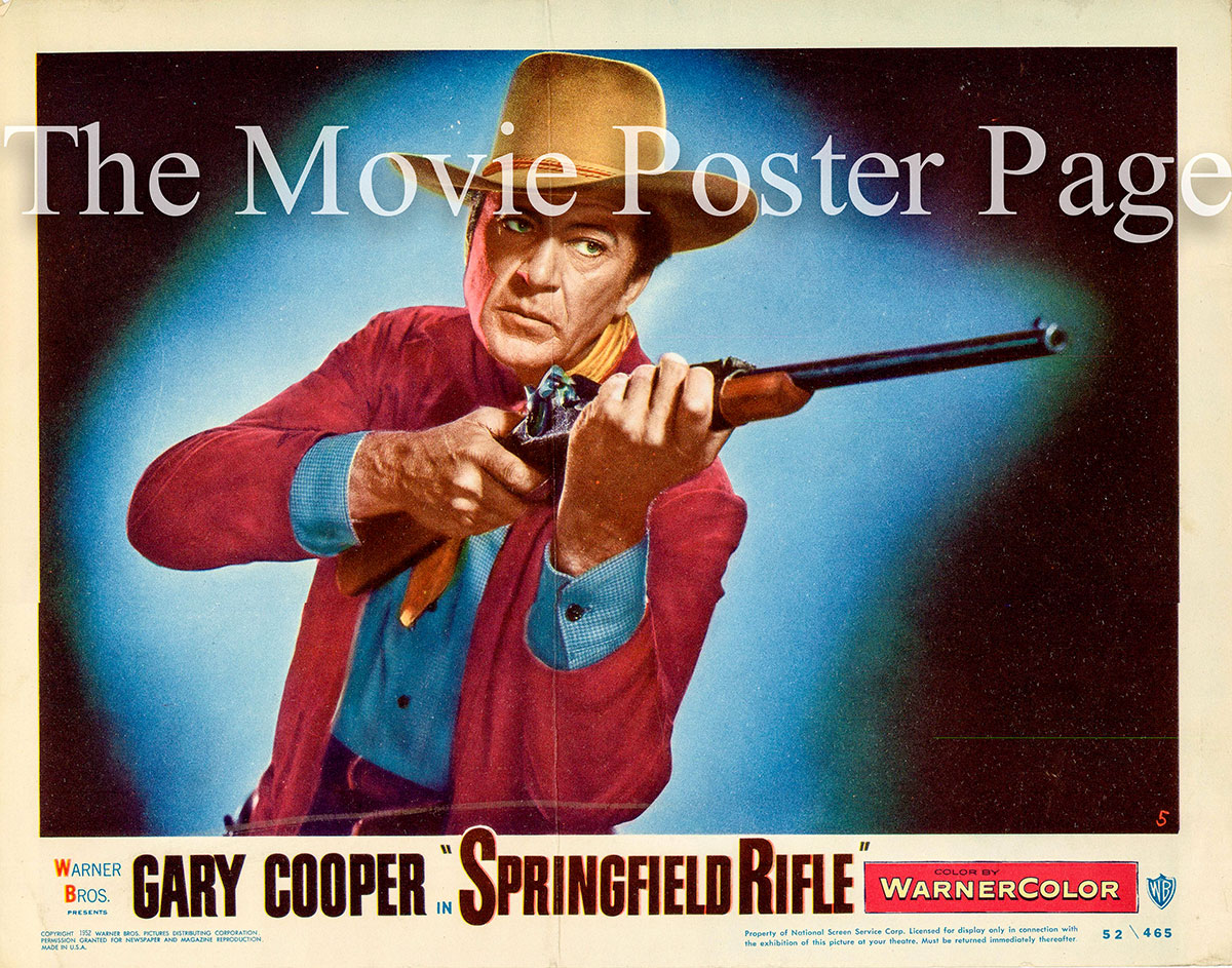 Pictured is a US promotional lobby card for the 1952 Andre De Toth film Springfield Rifle starring Gary Cooper.