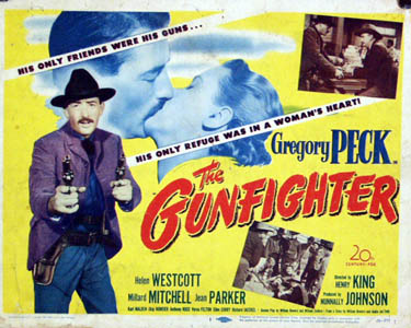 Pictured is a US title card for the 1950 Henry King film The Gunfighter starring Gregory Peck.