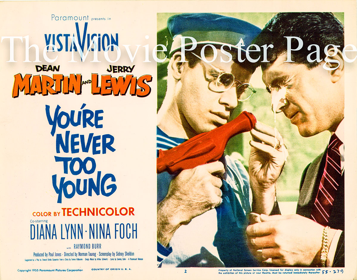 Pictured is a US lobby card for the 1955 Norman Taurog film You're Never Too Young starring Dean Martin and Jerry Lewis.