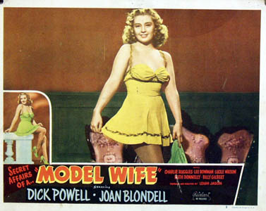 Pictured is a US lobby card for the 1941 Leigh Jason film Model Wife starring Joan Blondell and Dick Powell.