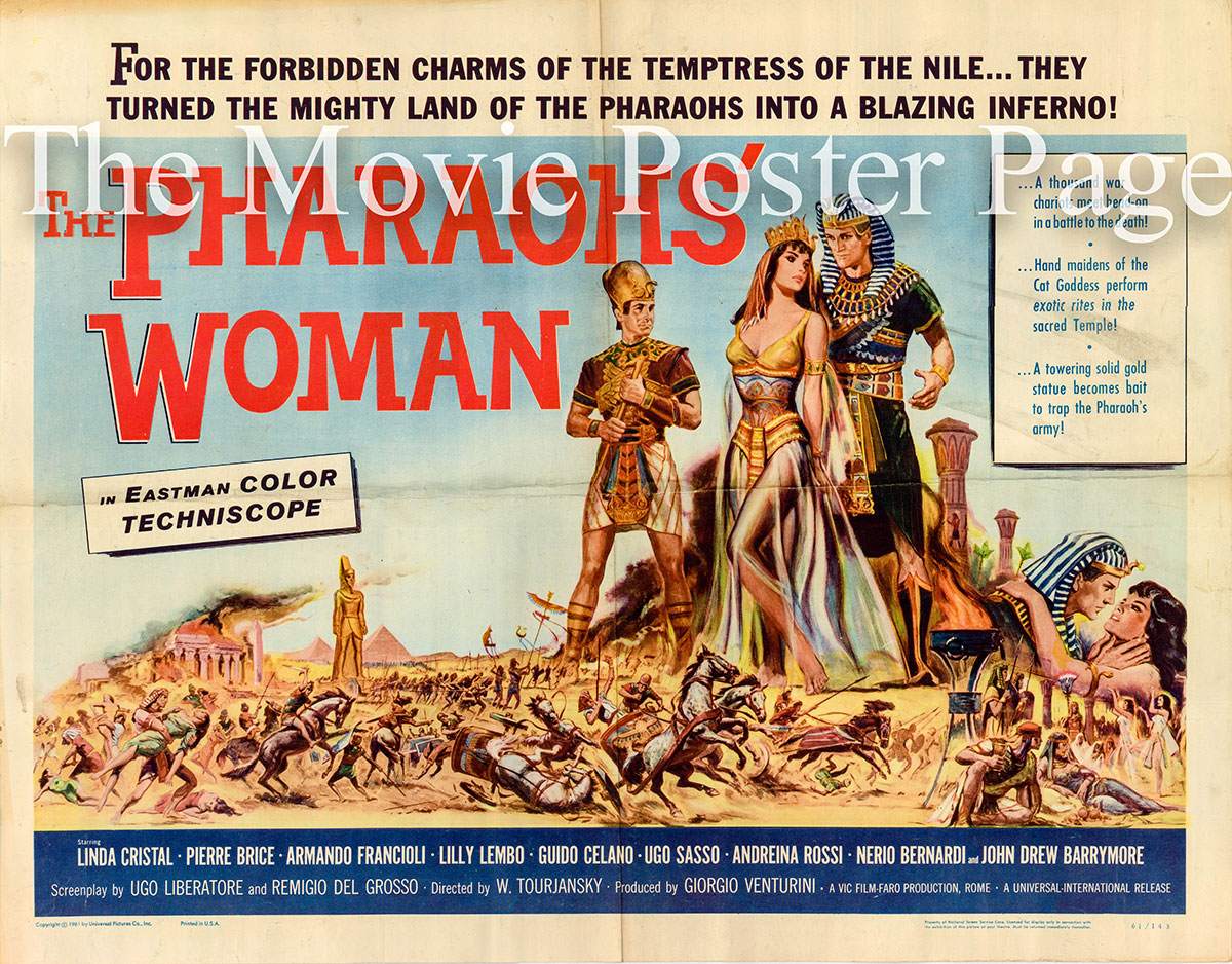 Pictured is a US half-sheet promotional poster for the 1961 Viktor Bourjansky film The Pharaoh's Woman starring Linda Cristal.