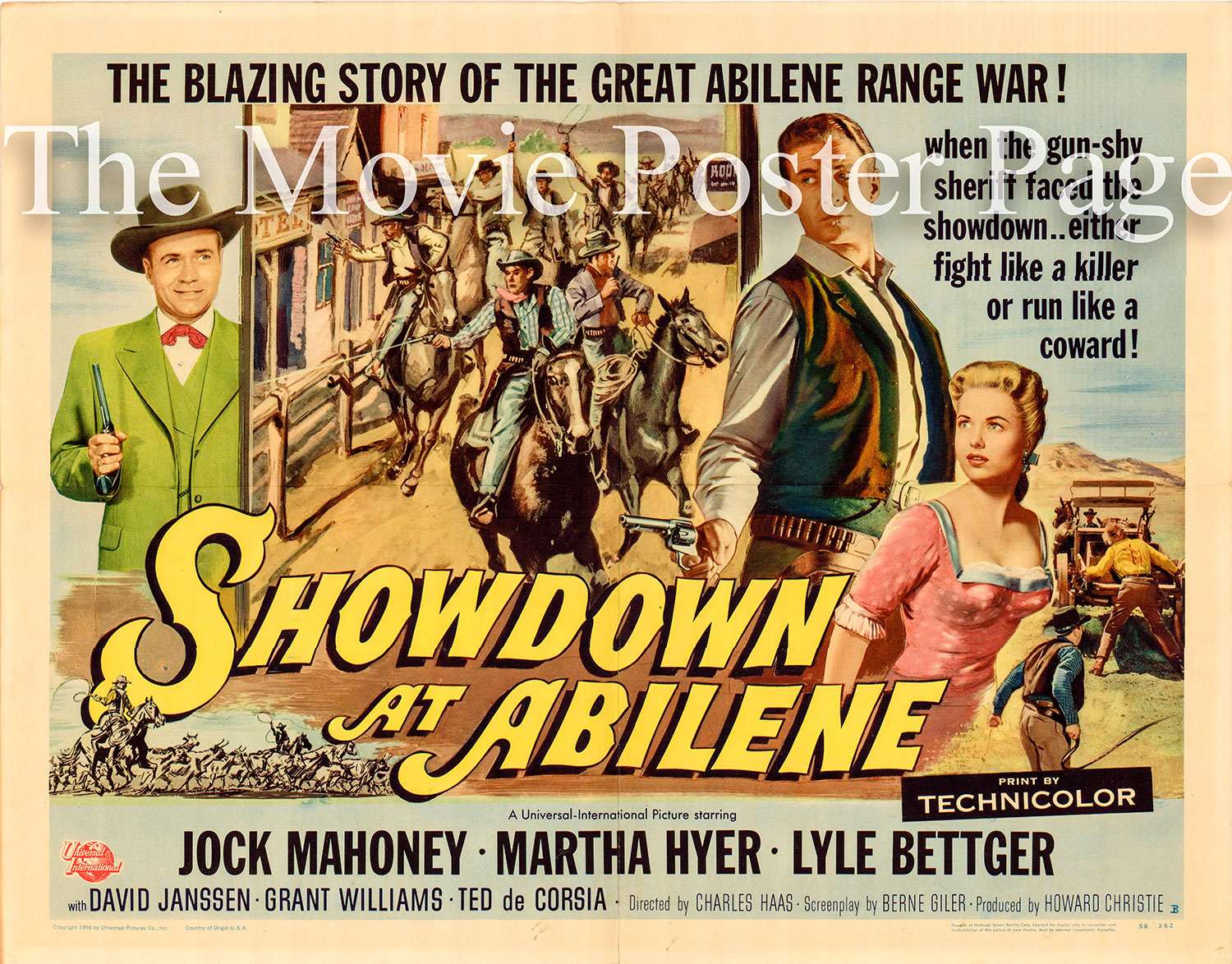 Pictured is a US half-sheet promotional poster for the 1956 Charles F. Haas film Showdown at Abilene starring Jock Mahoney.