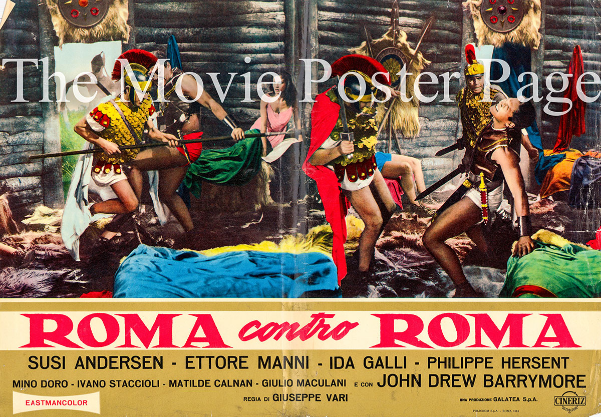Pictured is an Italian promotional fotobusta for the 1964 Giuseppe Vari film Rome against Rome starring John Drew Barrymore.