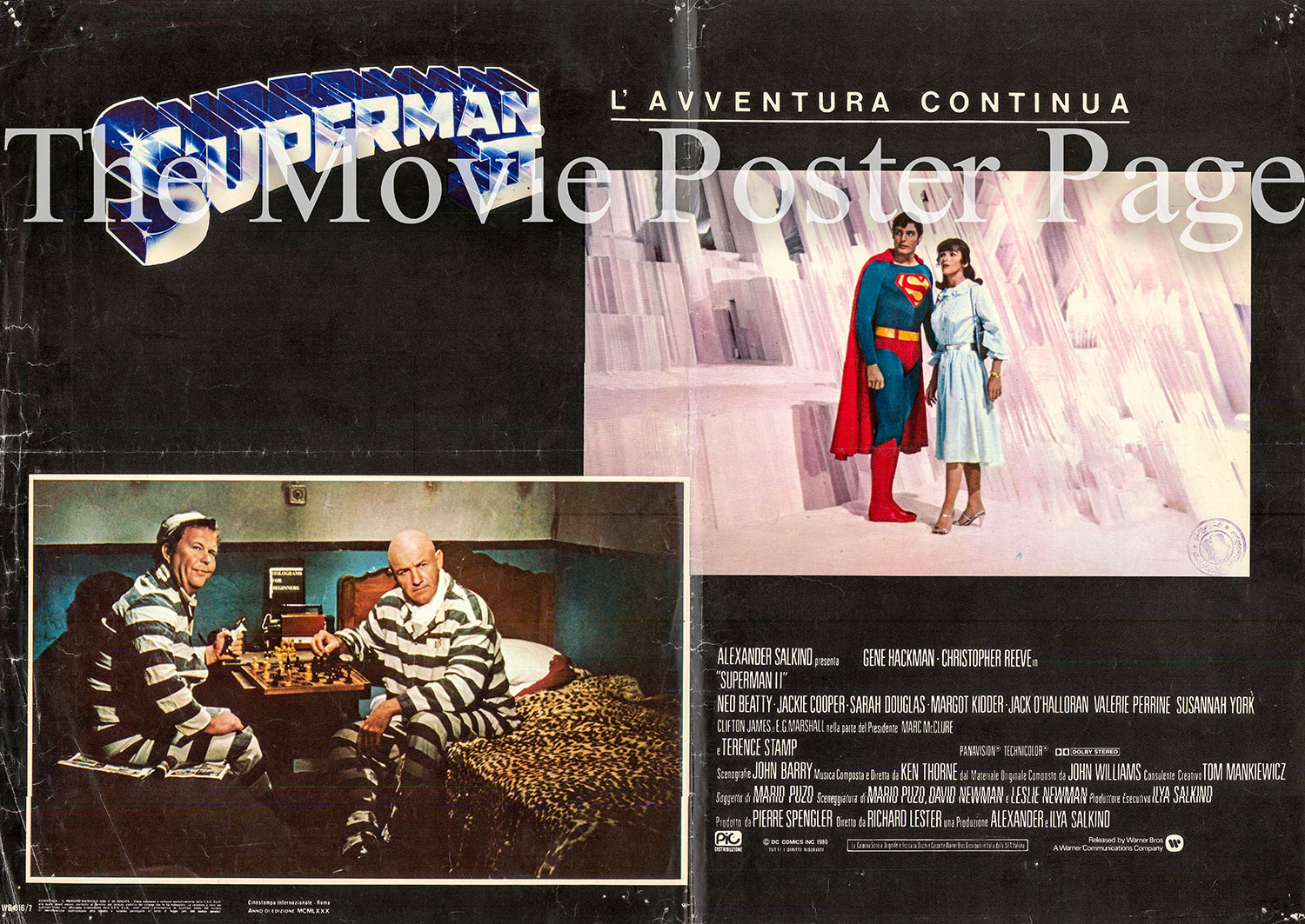 Pictured is an Italian promotional poster for the 1981 Richard Lester film Superman II starring Christopher Reeve.
