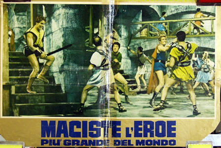 Pictured is an Italian promotional poster for the 1963 Michele Lupo film Goliath and the Sins of Babylon starring Mark Forest.
