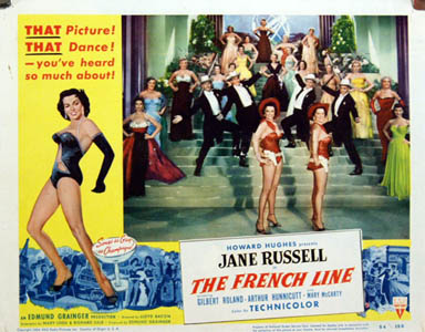 Pictured is a US lobby card for the 1954 Lloyd Bacon film The French Line starring Jane Russell.