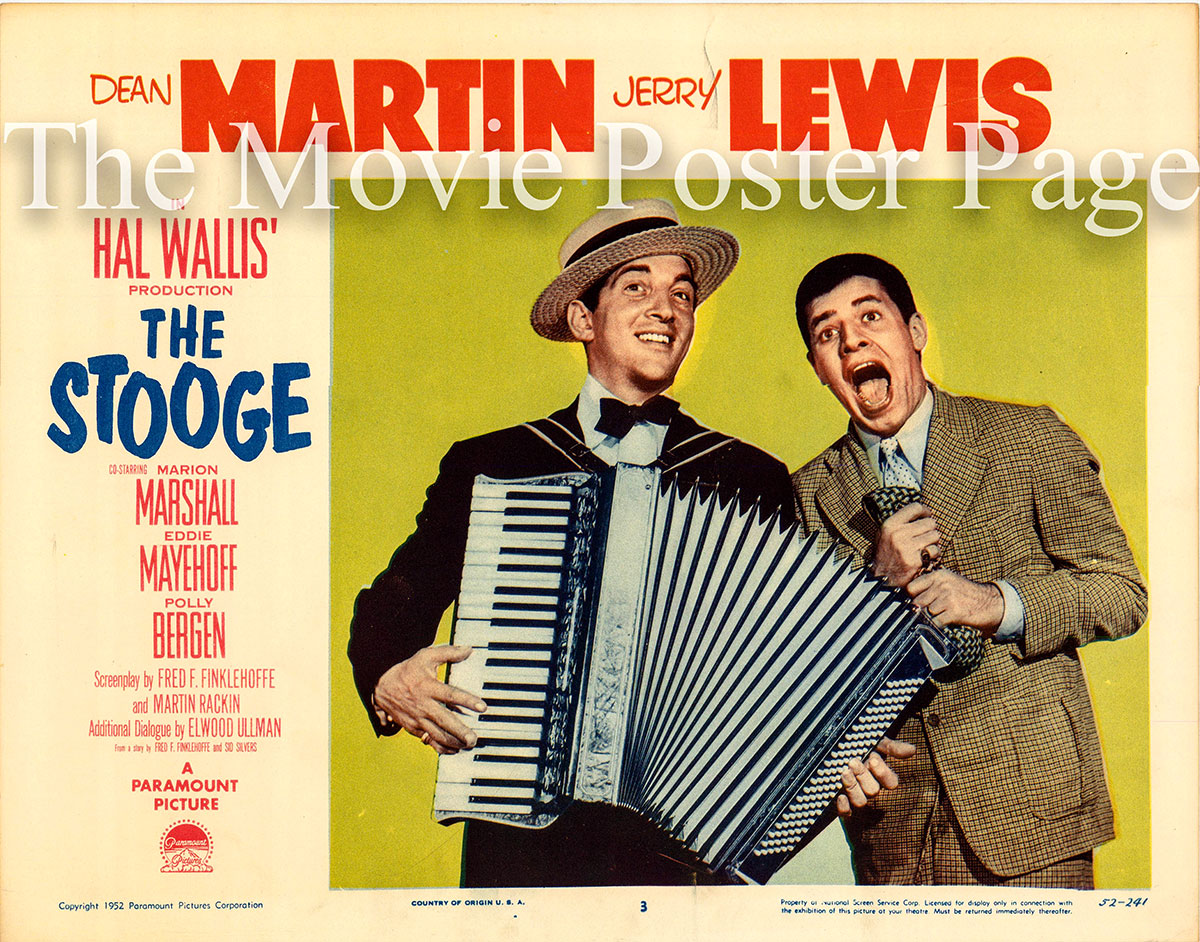 Pictured is a US lobby card for the 1952 Norman Taurog film The Stooge film starring Dean Martin and Jerry Lewis with Polly Bergen.
