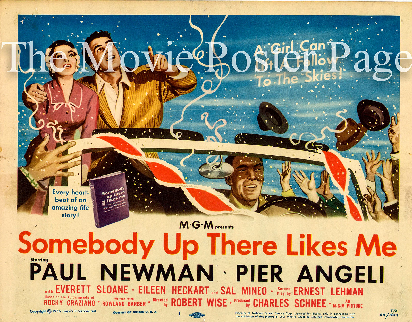 Pictured is a US lobby card for the 1956 Robert Wise film Somebody up There Likes Me starring Paul Newman and Pier Angeli.