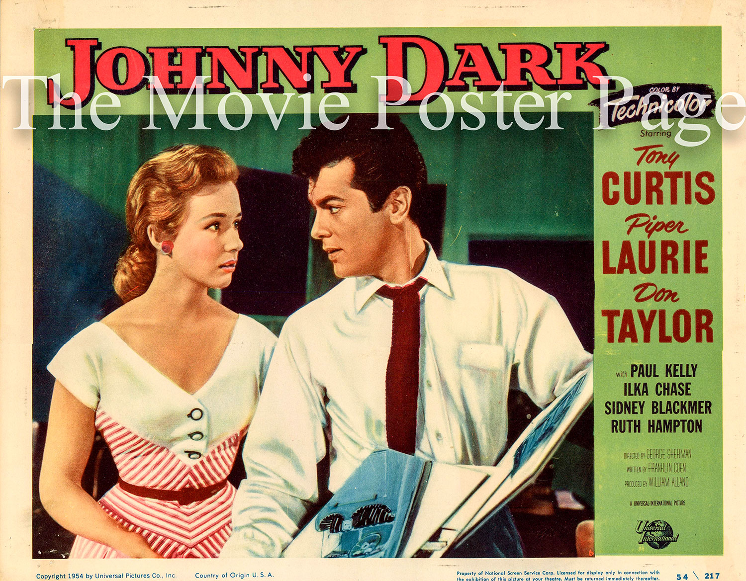 Pictured is a US lobby card for the 1954 George Sherman film Johnny Dark starring Tony Curtis and Piper Laurie.
