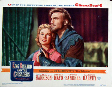 Pictured is a US lobby card for the 1954 David Butler film King Richard and the Crusaders starring Rex Harrison and Virginia Mayo.