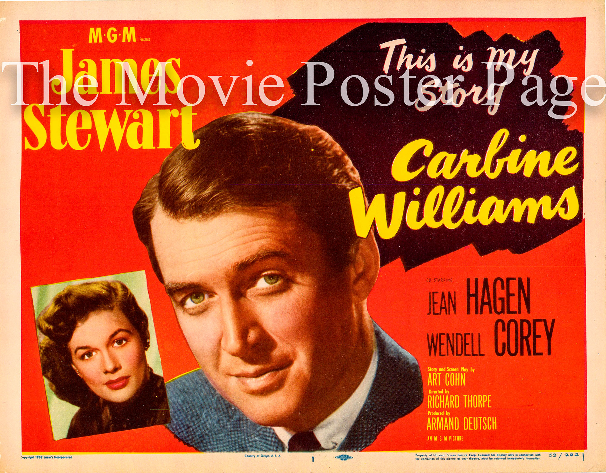 Pictured is a US lobby card for the 1952 Richard Thorpe film Carbine Williams starring James Stewart.