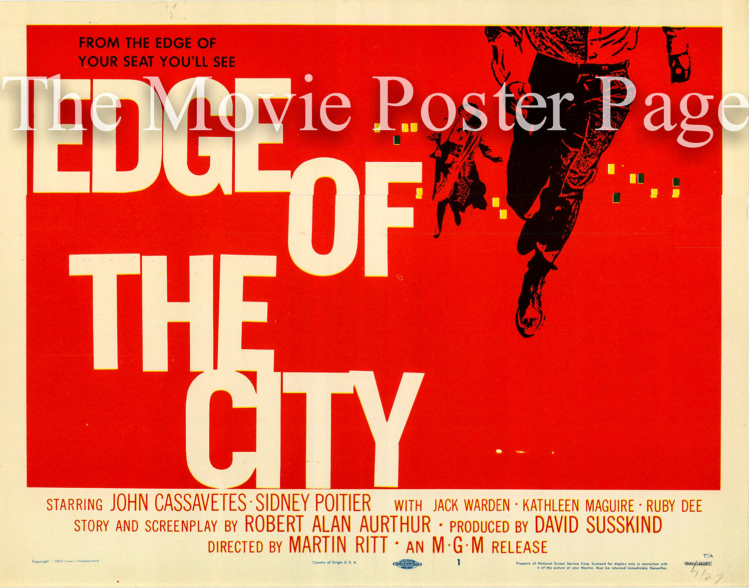 Pictured is a US title card promotional poster for the 1957 Martin Ritt film Edge of the City starring Sidney Poitier and John Cassavetes, with art by Saul Bass.