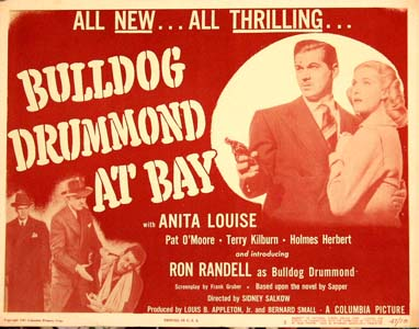 Pictured is a US title card for the 1947 Sidney Salkow film Bulldog Drummond at Bay starring Ron Randell.